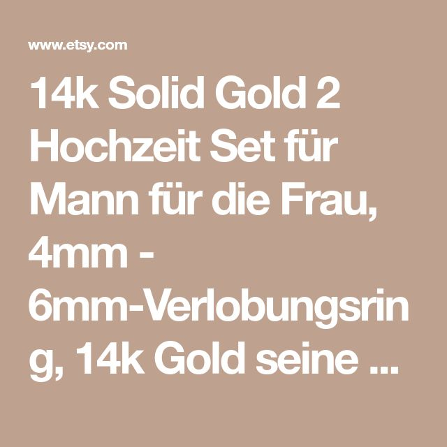 14k Solid Gold 2 Hochzeit Set für Mann für die Frau, 4mm - 6mm-Verlobungsring, 14k Gold seine und Ihre passende Hochzeit Bands, klassische Hochzeit Ring,