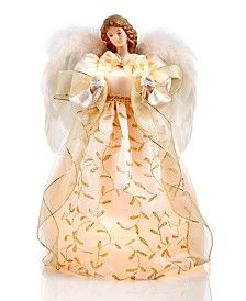 "10 lights Holiday Lane 14"" Angel in Gold Tree Topper"