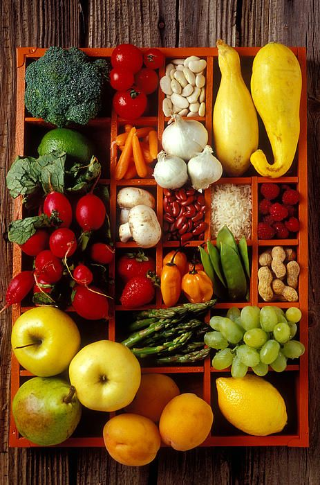 ~~Fruits and vegetables in compartments by Garry Gay~~