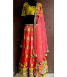 Buy Orange and candy pink embroidered jacquard unstitched lehenga choli lehenga-choli online