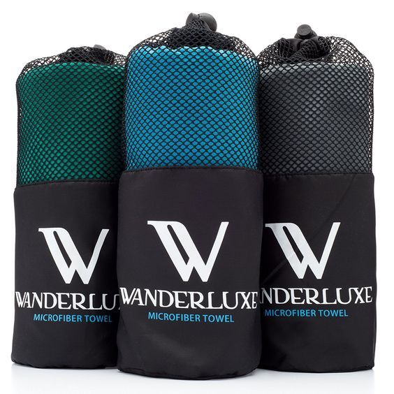 Wanderluxe Microfiber Travel Towel XL / Swimming Towel Set   Super Absorbent and Fast Drying   Bath Towel (60' X 28') with Hand Towel and Storage Bag! Perfect for Beach * See this great product.