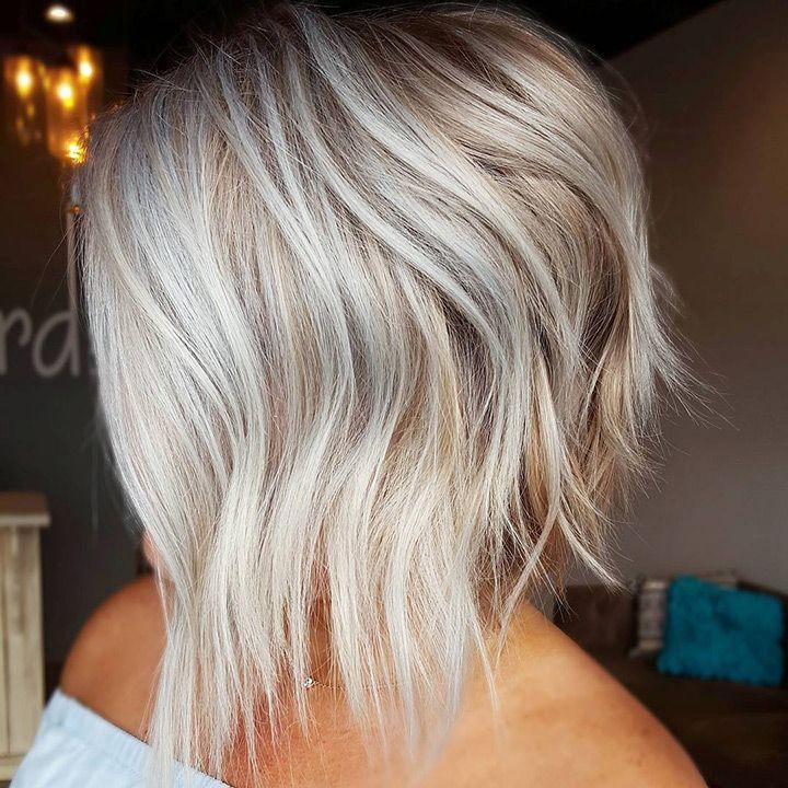platinum blonde short inverted choppy bob