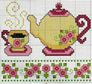 Ponto cruz mesa de chá