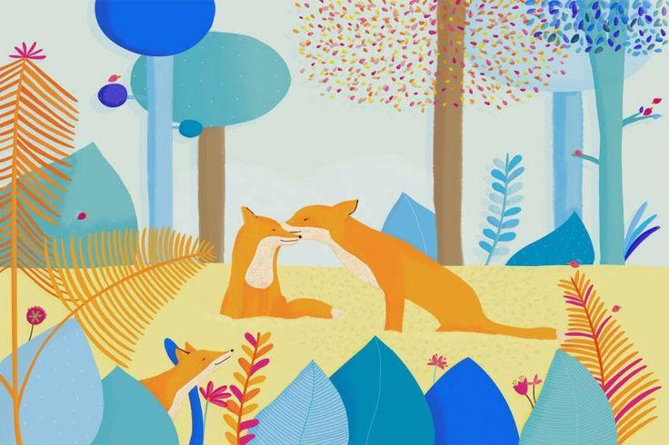 Illustration jeunesse - Technique : numérique Renards