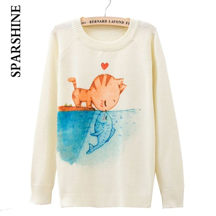 2016 Autumn Female Winter Sweater And Pullovers For Women Fashion O-Neck Loose Wool Sweaters Plus Size Cartoon Animal Print Tops