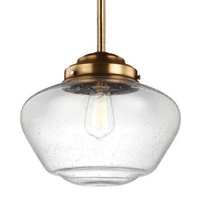 "Laurel Foundry Modern Farmhouse Ezra 1 LED Integrated Bulb Schoolhouse Pendant Finish: Aged Brass, Size: 12.25"" H x 13.88"" W x 13.88"" D"