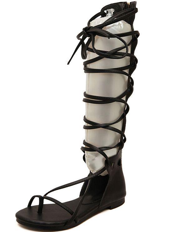 Black Strap Hollow Boot Sandals 41.00