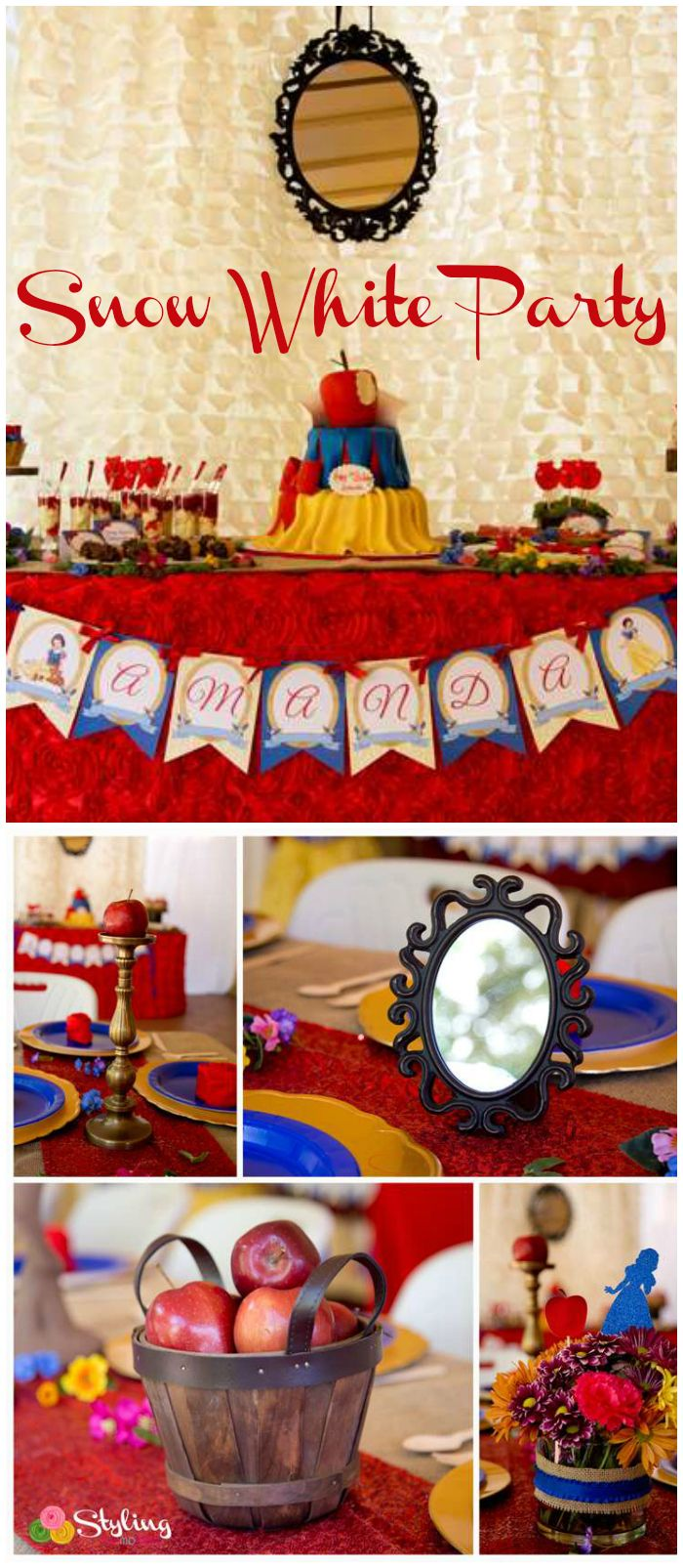 A rustic glam Snow White girl birthday party with wood platters, burlap, little birds, flowers, and tree vines! See more party planning ideas at CatchMyParty.com!