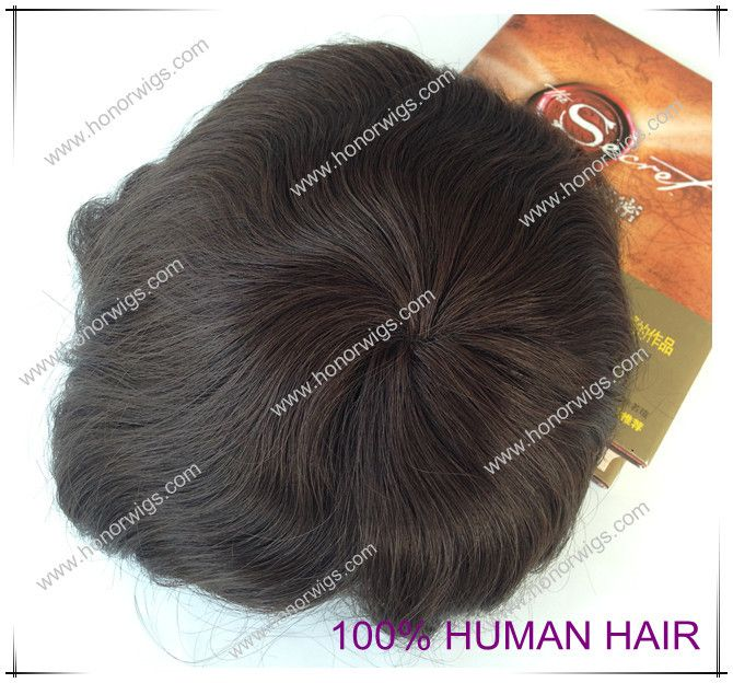Quality human brazilian hair toupee wig hair replacement in super thin PU base size 8″x10″ dark brown color men's toupee