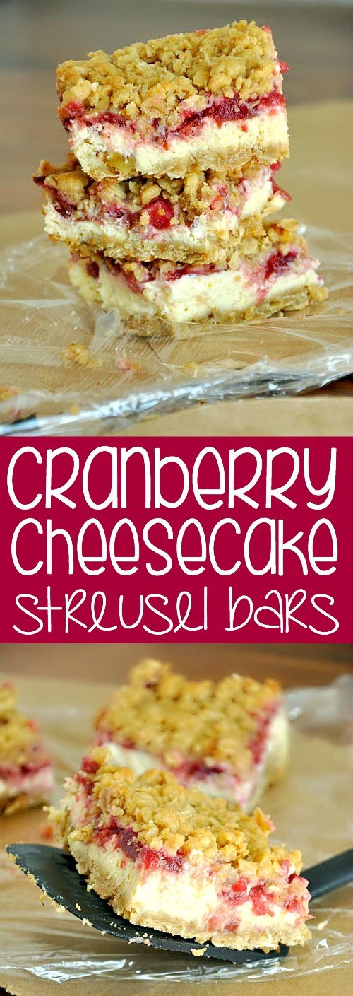 Cranberry Cheesecake Streusel Bars :: Use leftover cranberry sauce to whip up this delicious gluten-free treat!
