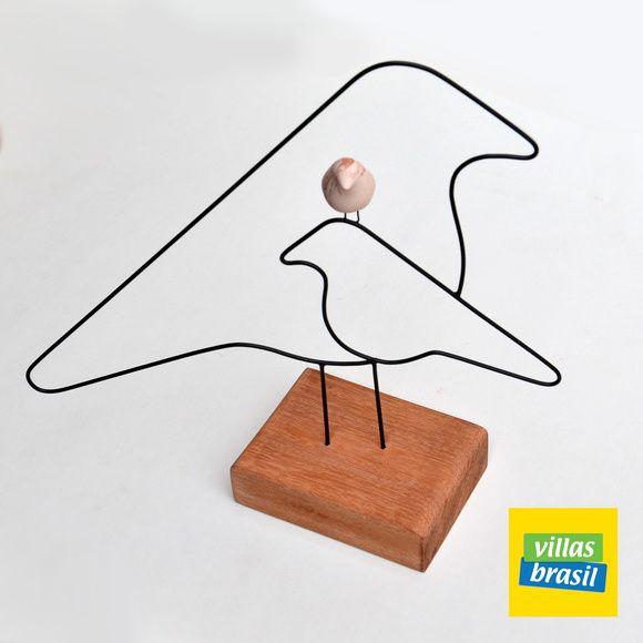 Escultura+de+arame+e+passarinho+em+cerâmica+com+base+de+madeira R$ 50,00