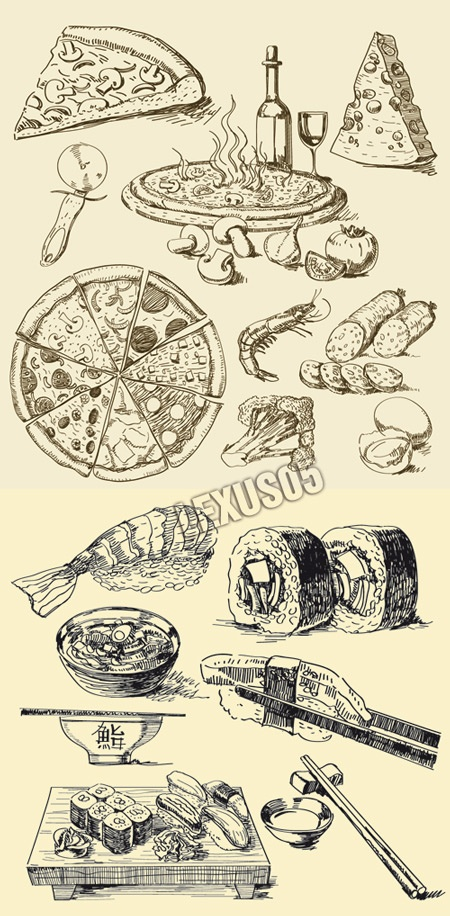 Quality Graphic Resources: Pizza and Sushi Hand Drawn Vector Illustration