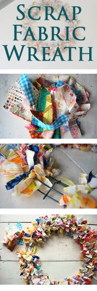 DIY Spring Scrap Fabric Wreath. No Sew, No Craftiness Needed. Super easy and oh-so-shabby chic!