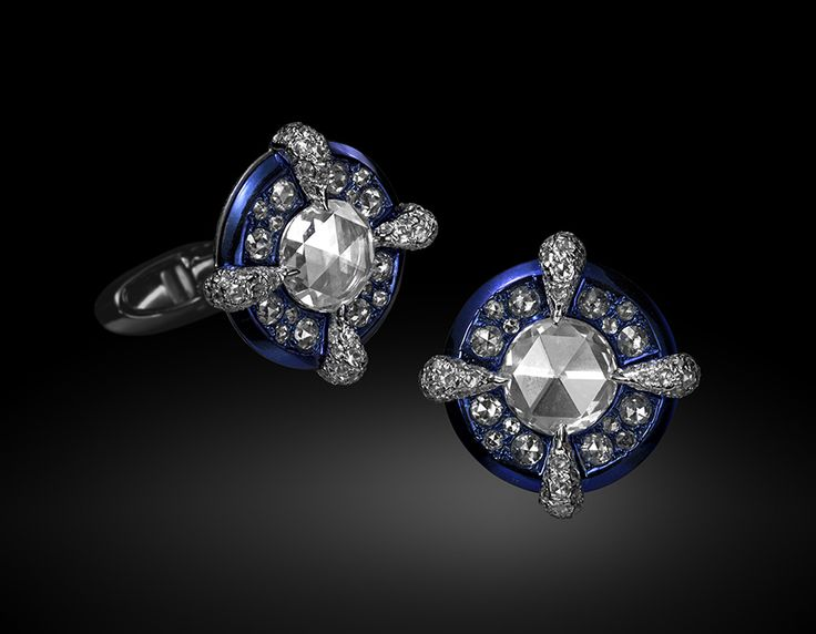 Carnet Azure Opulence Cufflinks. White diamond cufflinks set in 18K white gold and titanium.