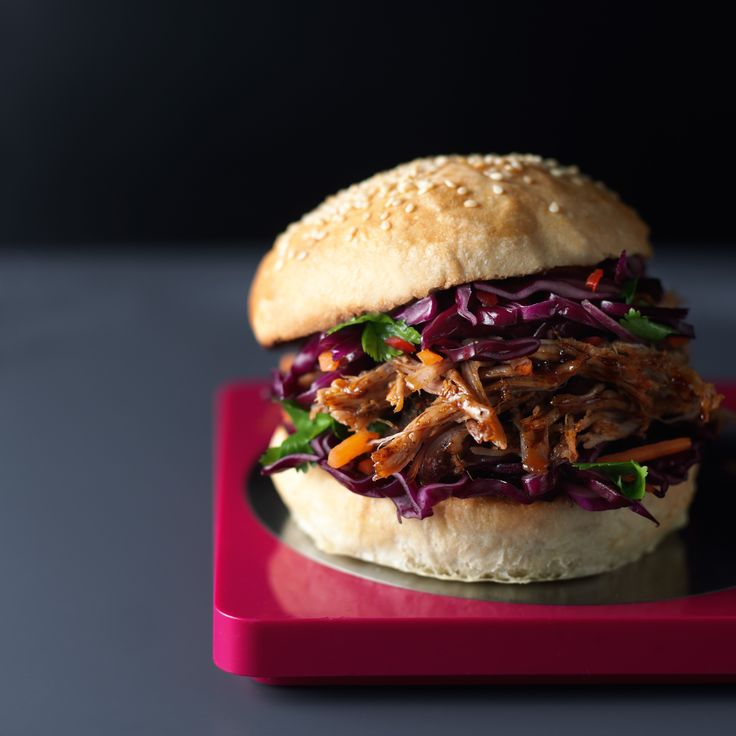 Lorraine Pascale's slow cooker Asian pulled pork is made in a slow cooker and served in a toasted bun with spicy slaw