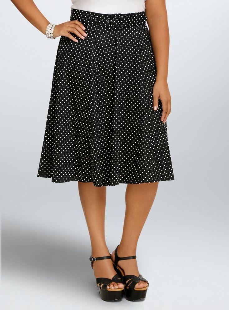 Retro Chic Polka Dot Midi Swing Skirt