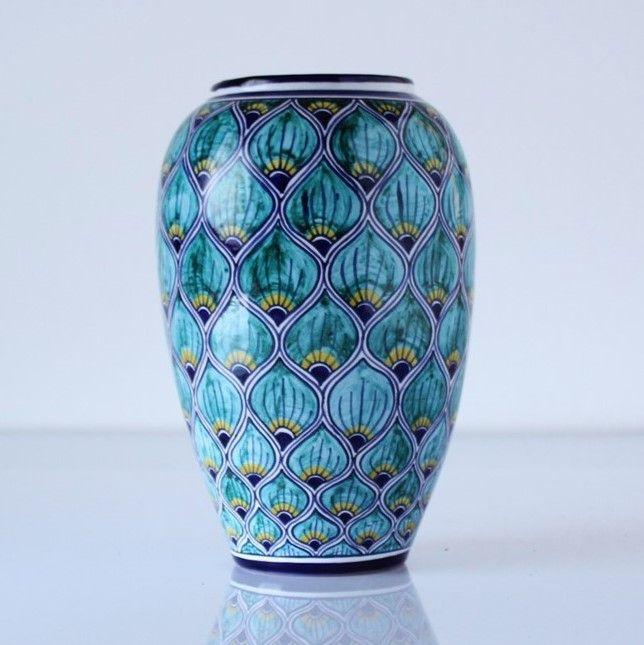 vaso-ceramica azzurro-pavona