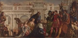Family of Darius before Alexander-oil on canvas painting by Paolo Veronese. It depicts Alexander the Great with the family of Darius III, the Persian king he had defeated in battle.