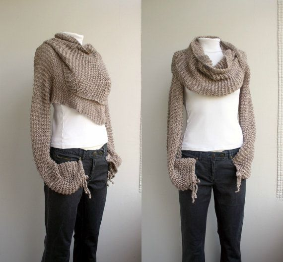 wrap scarf with sleeves...need to learn how to knit...