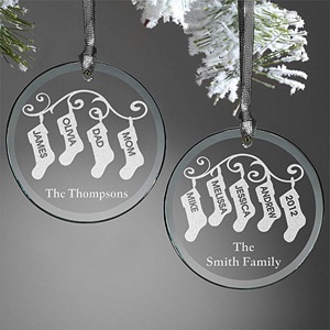 Personalized Ornaments - Family Christmas Stockings - etched glass