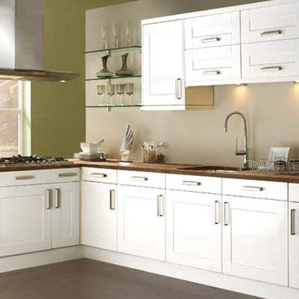 Kitchen-compare.com - Compare Retailers - White Gloss Shaker - Homebase Como White Shaker Gloss