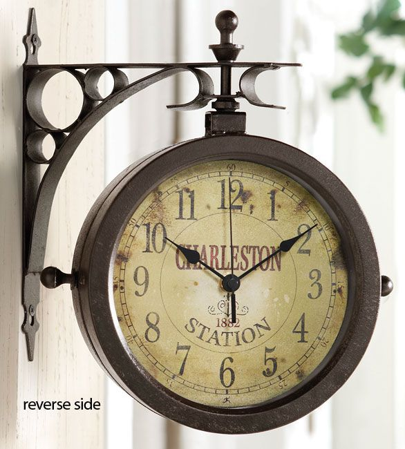 Outdoor Clock Thermometer Double Sided Outdoor Clock
