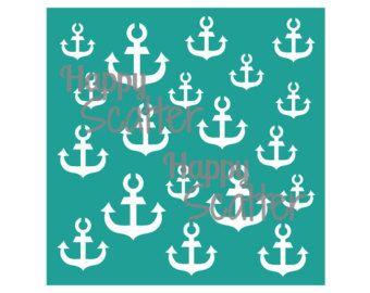 "Anchors Stencil, Ahoy There Anchors 6x6"" Stencil, Seaside Stencil, Random Pattern Stencil, 6x6 Stencil, Mixed Media Stencil, Scrapbooking"