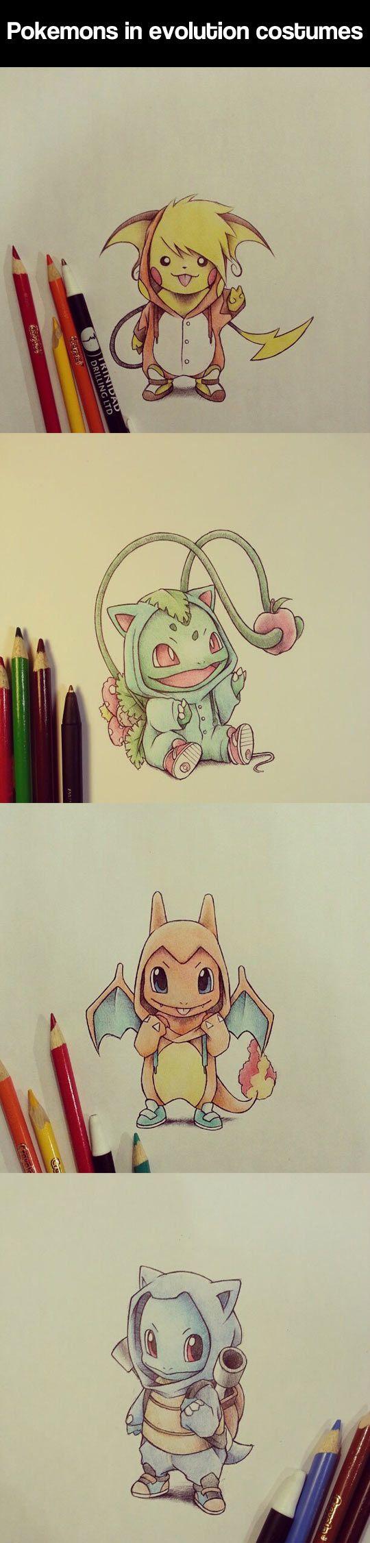 Pokemon wearing evolution costumes.