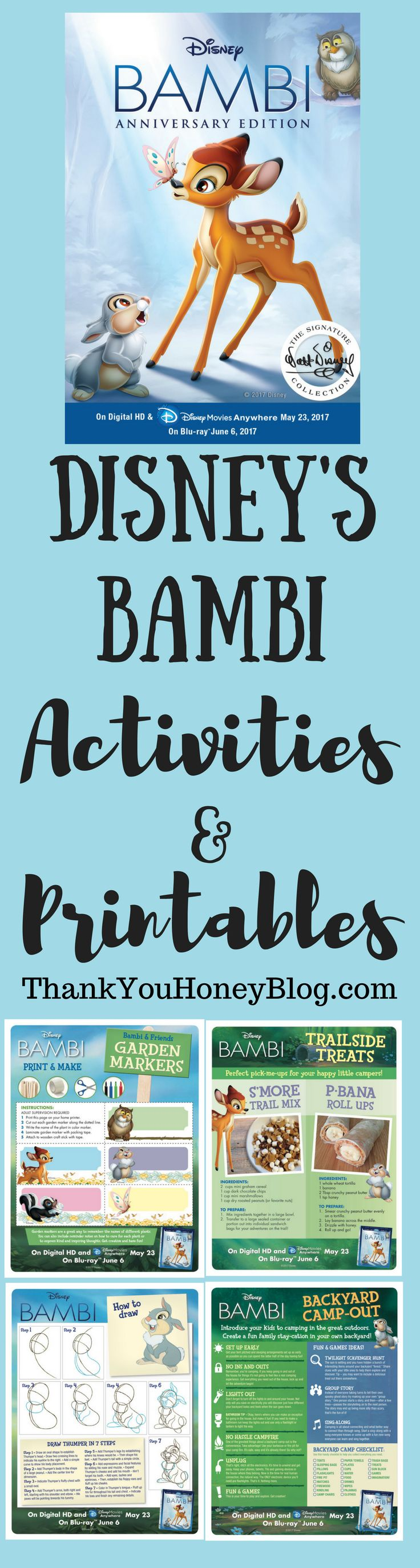 BAMBI Kids Activities & Printables,  Click through & PIN IT! Follow Us on Pinterest + Subscribe to ThankYouHoneyBlog{dot}com,  New Release, Disney, Blue-Ray, DVD, BAMBI Kids Activities & Printables, Activities, Kids Activities, Printables, Video, Movie, Disney Home Movies,