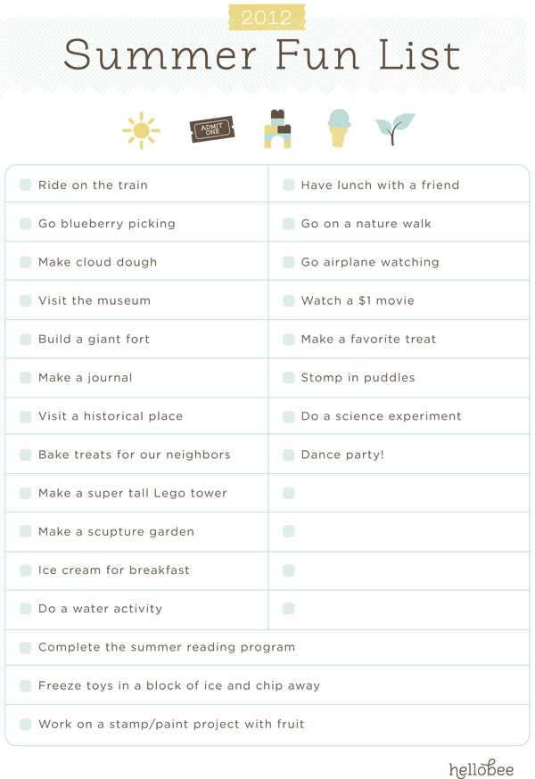 Free 2012 Summer Fun List Printable -- customizable printable via hellobee.com