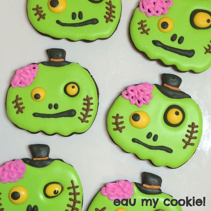 Zombie pumpkin cookies, Halloween cookies 2015