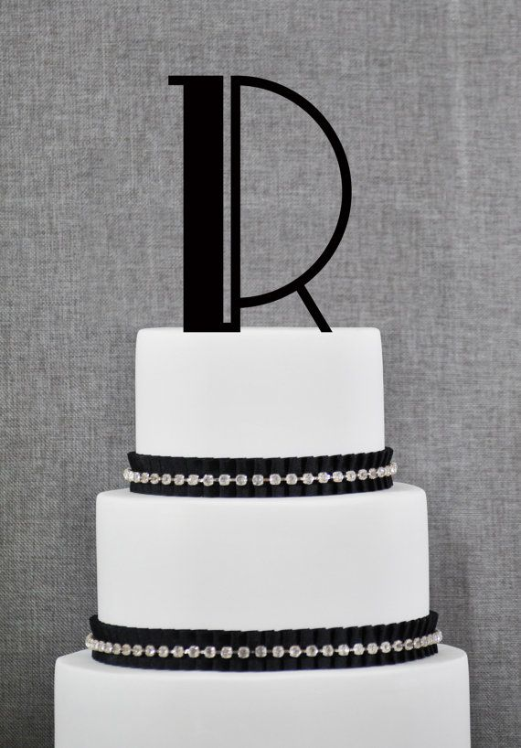 Art Deco Monogram Cake Topper : Monogram Personalized Initial Cake Topper in your Choice ...