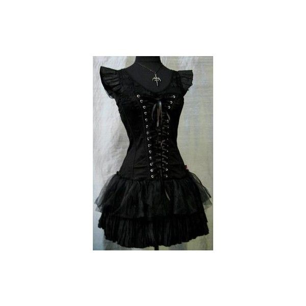 Items similar to Alternative Wedding Dress - Steampunk, Victorian,... via Polyvore featuring dresses, black knee length dress, retro-inspired dresses, black tea length dress, retro style dresses and retro black dress