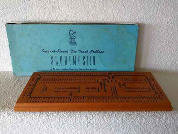 Vintage cribbage board by William F. Drueke & Sons, Inc., Grand Rapids, MI, established in 1914. Game No. 1150, A De Luxe Cribbage Board for Two