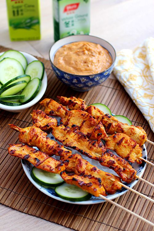 Thai Chicken Sate with Peanut Sauce: These are marinated with coconut milk and fish sauce, two key ingredients in Thai recipes. #chicken #grilled #skewers #peanut