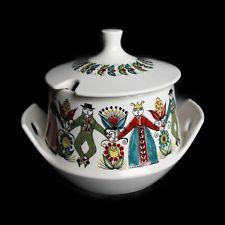 Norway Large Soup Tureen Figgjo Saga Pattern w Heilag Olav Pewter Ladle 1960's