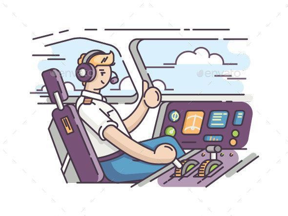 Airplane Pilot in Cockpit - #People #Characters Download here:   https://graphicriver.net/item/airplane-pilot-in-cockpit/20379911?ref=alena994