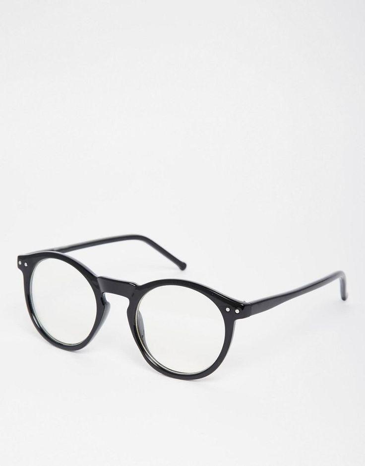 ASOS | ASOS – Schwarze Brille mit runden transparenten Gläsern bei ASOS