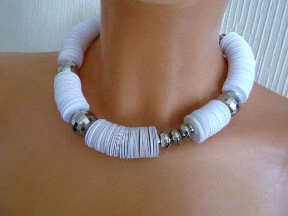 Wite paper necklace conterporary necklace paper choker by BeAliter