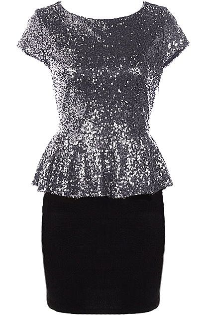 Priceless Peplum Dress: Features a classic round neck framed by snug cap sleeves, glittering gold foundation for maximum sparkle and shine, flared peplum waist for a flirty silhouette, and a solid black pencil skirt to finish.