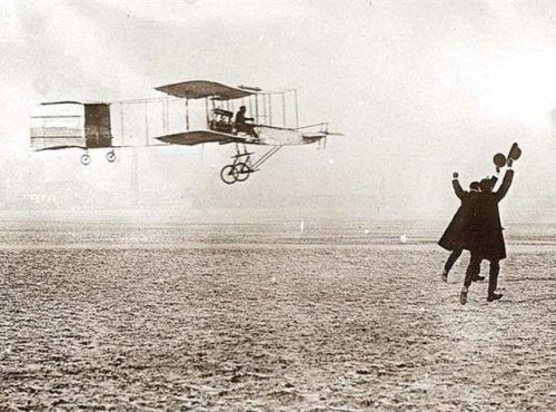 Farman flying machine in flight. France, 1909-   The students would be asked to write what is going on in the picture, including who the students think the people are, what the people are doing, how the people are feeling, and why. This could lead into a discussion about aviation, the evolution of transportation, etc.