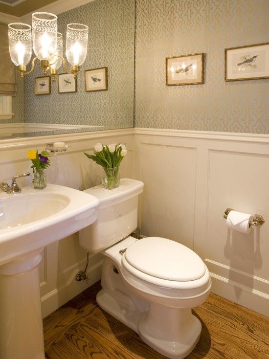 Powder Room Design, Pictures, Remodel, Decor and Ideas - page 5. Like the mirror across entire back wall with chair railing around room for ledge to place things. Add a glass ledge over sink as I saw in hotel bath.