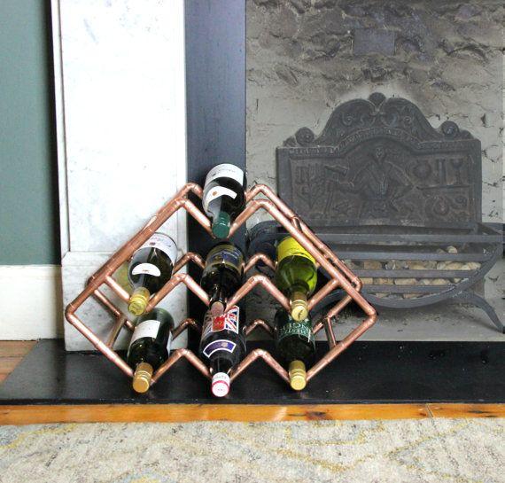 Unique Handmade Copper Wine Rack Wine by ProperCopperDesign