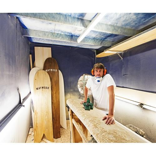 Matt Maywood makes sustainably sourced wooden surfboards and designs organic cotton tees and boardies for Alaya Earth.