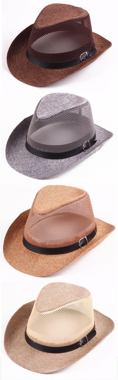 Men Hollow Out Mesh Top Hat Wide Brim Casual Braid Fedora Beach Sun Flax Panama Jazz Hat