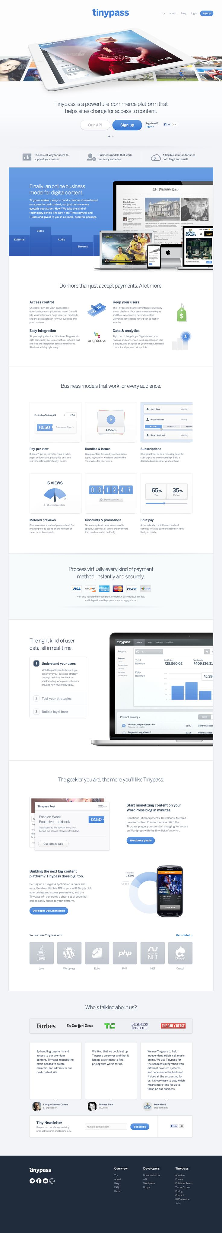 Tiny Pass Tinypass.com Website - Homepage #website #corporate #cool #application