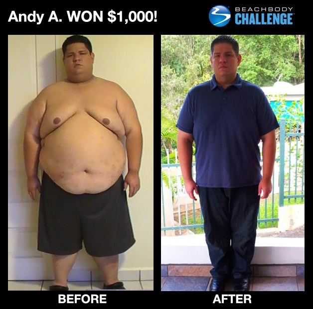 """::March 2013 MEN 30-39:: Andy from Puerto Rico lost 206 LBS and 22 pants sizes in 2 years with #INSANITY + #Shakeology! --> """"I'm so proud of what I've accomplished. Every time I see my before and after, it motivates me to be better. Nothing makes me prouder than to be the result of my own efforts, and thanks to Beachbody, I've been able to do it."""" ENTER YOUR RESULTS TODAY FOR A CHANCE TO WIN!"""