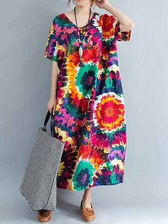 Floral Printed Loose V-neck Short Sleeve Women Dress