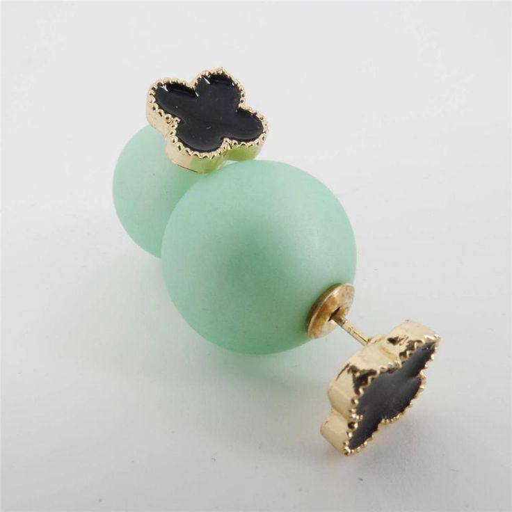 Lucky Black Clover Gold Matte Mint Green Stud Double Sided Back Front Earrings #Uniklook #postpiercedearrings