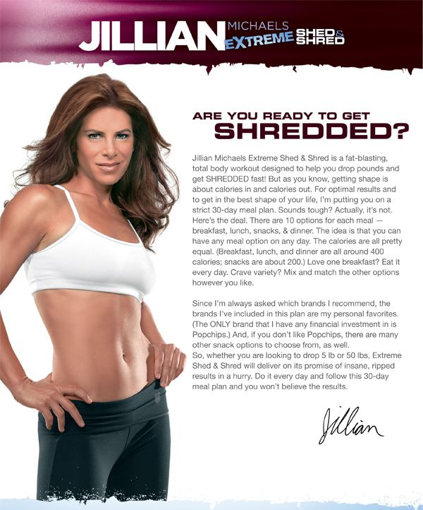 Extreme Shed Shred Jillian Gives You A 30 Day Meal Plan